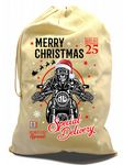 X-Large Cotton Drawcord Christmas Santa Sack With Funny Merry Christmas Biker Cafe Racer Motif